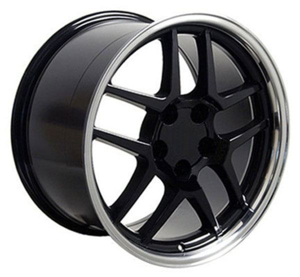 "OE Wheels Corvette C5 Z06 Replica Wheels - Black w/polished lip 17x9.5"" (54mm Offset) Set of 4"