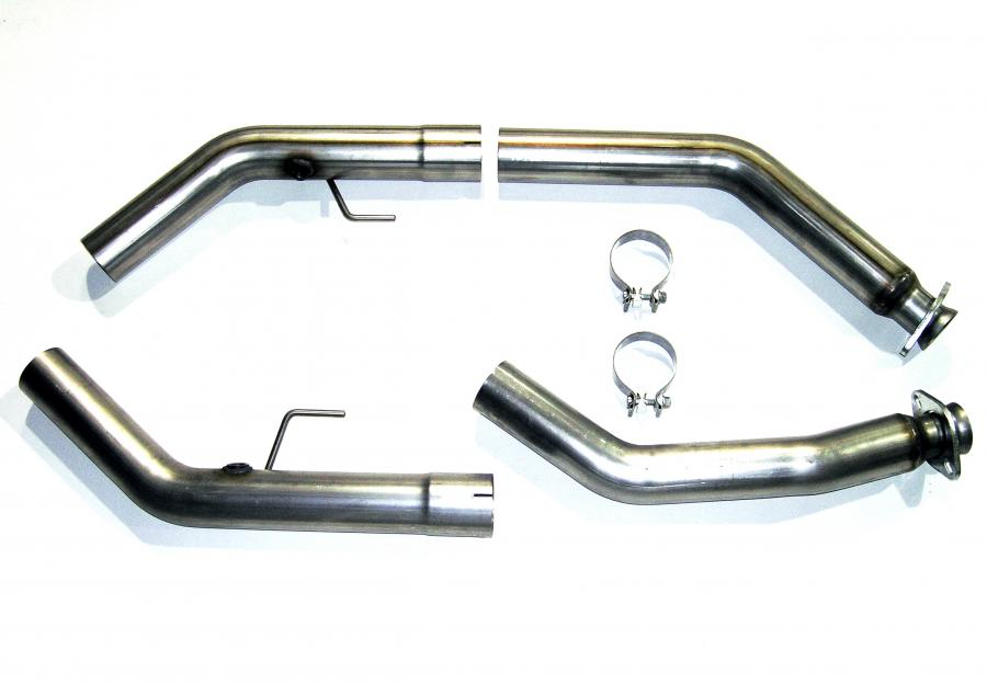 "2007-2009 Ford Mustang GT500 Bassani 3"" Stainless Offroad Midpipes - For Stock Manifolds"