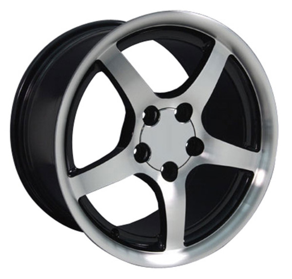 "OE Wheels Corvette C5 Y2K Replica Wheels - Black Machined 18x9.5"" (54mm Offset) Set of 4"