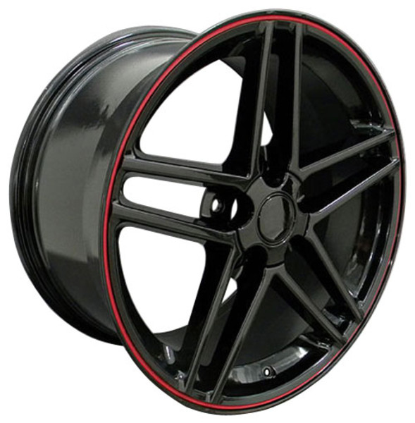 "OE Wheels Corvette C6 Z06 Replica Wheel -  Black w/Red Band 17x9.5""/18x10.5"" Set (54mm/56mm Offset)"