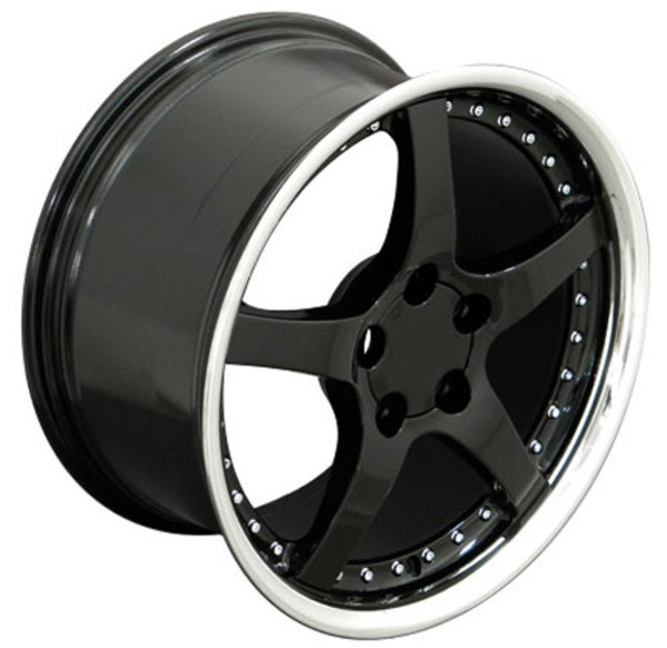 "OE Wheels Corvette C5 Y2K Replica Wheel - Black w/polished lip 18x9.5"" Set (54mm Offset)"