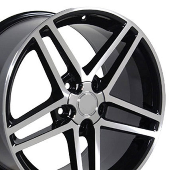 "OE Wheels Corvette C6 Z06 Replica Wheel - Black w/Machined Face 18x10.5""/18x9.5"" Set (56mm Offset)"