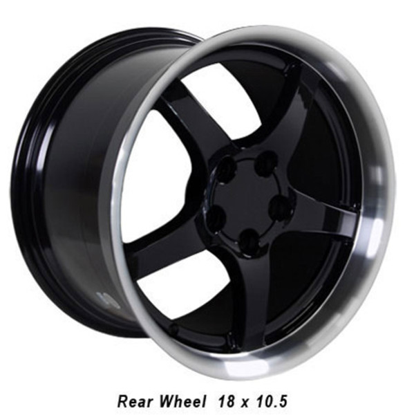 "OE Wheels Corvette C5 Y2K Deepdish Replica Wheel - Black w/polished lip 18x10.5"" (56mm Offset)"