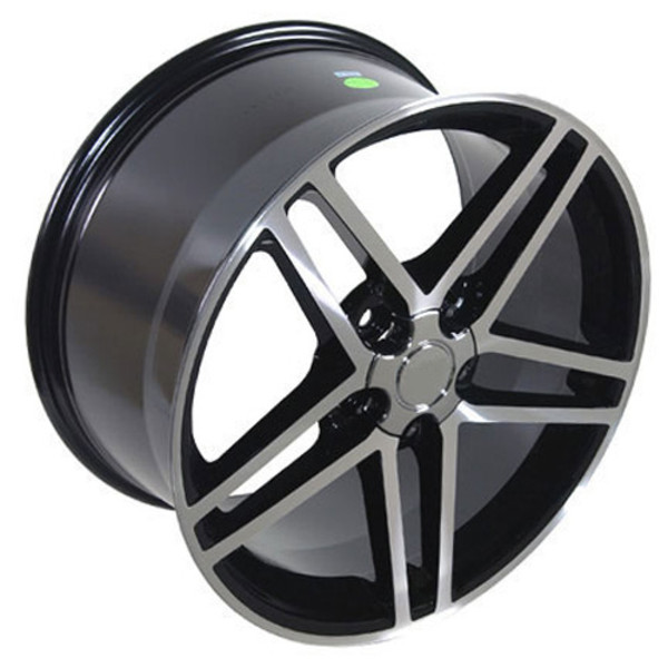 "OE Wheels Corvette C6 ZO6 Replica Wheel - Black Machined 17x9.5"" (54mm Offset) - Set of 4"
