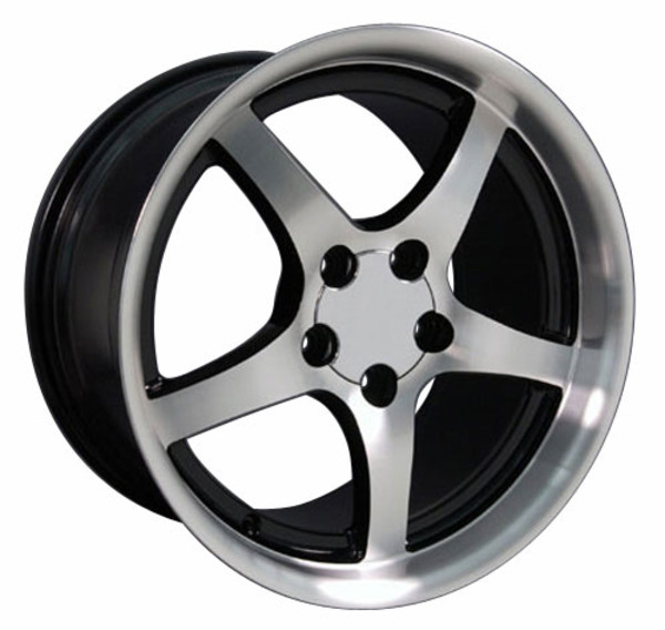 "OE Wheels Corvette C5 Y2K Deepdish Replica Wheel - Black Machined 18x10.5"" (56mm Offset)"