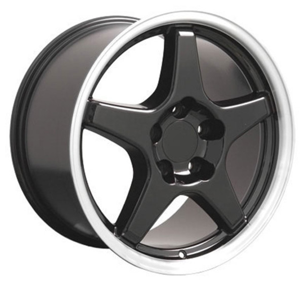 "OE Wheels Corvette C4 ZR1 Replica Wheels - Black w/machined lip 17x9.5"" (56mm Offset) Set of 4"