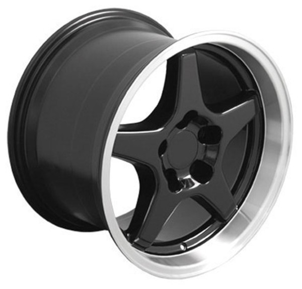 "OE Wheels Corvette C4 ZR1 Replica Wheels - Black w/Machined Lip 17x9.5""/17x11"" Set (50mm/56mm Offset)"