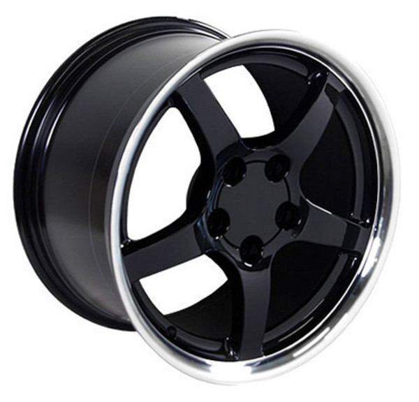 "OE Wheels Corvette C5 Y2K Replica Wheels - Black w/polished lip 17x9.5"" (54mm Offset) Set of 4"