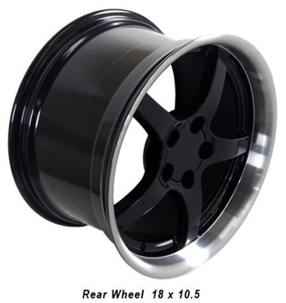 "OE Wheels Corvette C5 Y2K Replica Deepdish Wheels - Black w/Machined Lip 17x9.5""/18x10.5"" Set (54mm/56mm Offset)"