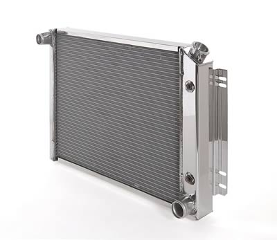 97-04 C5 Corvette BeCool Direct Fit Aluminum Radiator - Polished Finish w/Transmission Cooler Fittings