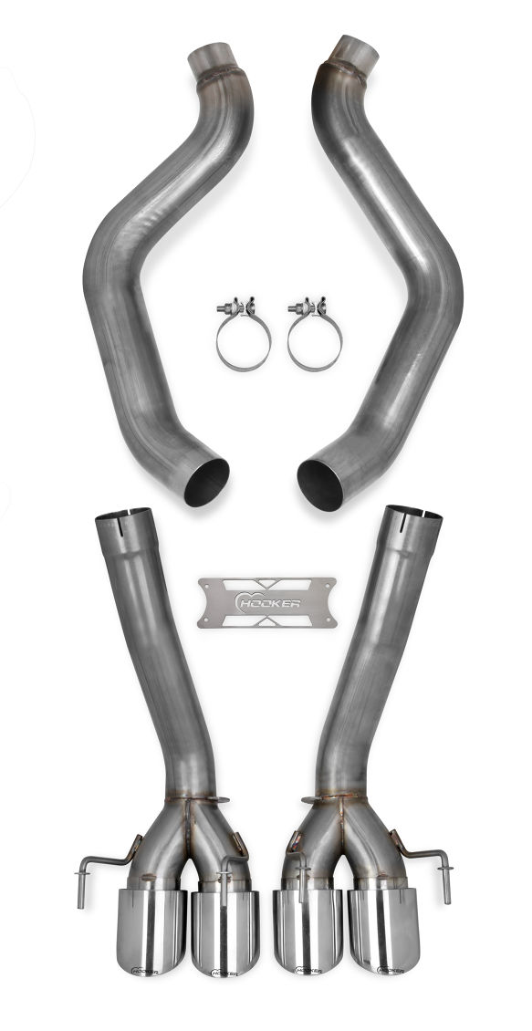 "2005-2008 C6 Corvette Hooker Blackheart 3"" Axleback Exhaust System (No Mufflers) w/Tips"