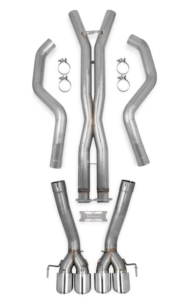 "2005-2013 C6 Corvette Hooker Blackheart 3"" Catback Exhaust System (No Mufflers) w/Xpipe & Resonators"
