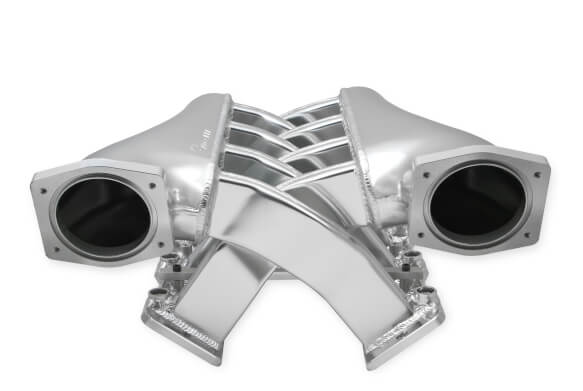 LS1/LS2/LS6 Holley Sniper EFI Fabricated Intake Manifold Dual Plenum 92mm TB spacers, and Fuel Rail Kit - Silver