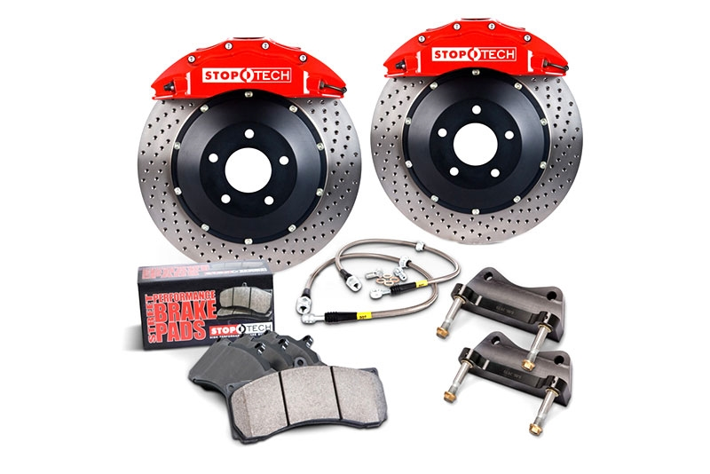 97-04 C5/ZO6 Corvette Stoptech Front Big Brake Kit w/Red ST-40 Calipers & 2pc 355x32mm Drilled Rotors