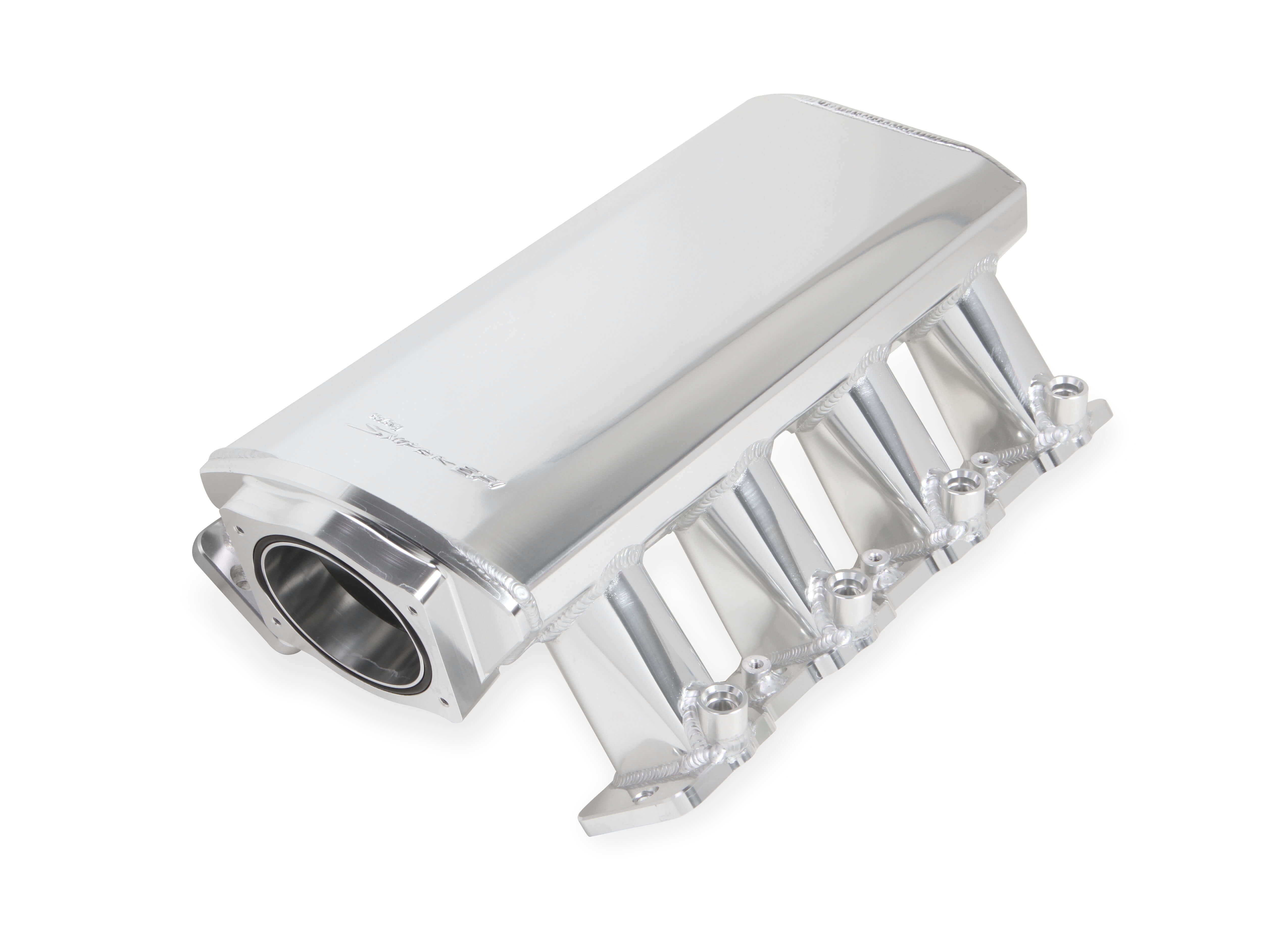 LS7 Holley 102mm Sniper EFI Low-Profile Sheet Metal Fabricated Intake Manifold & Fuel Rail Kit - Silver