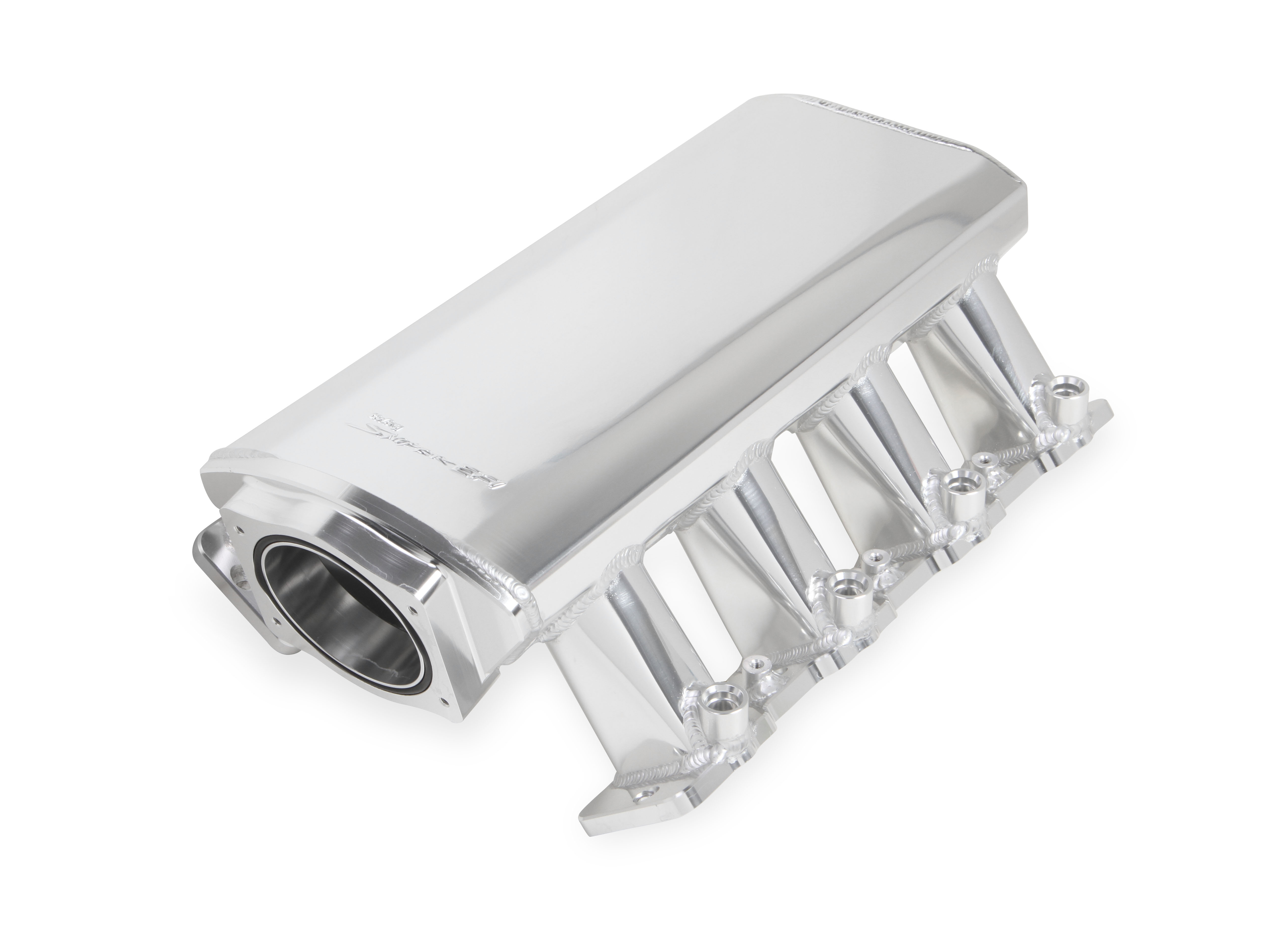 LS7 Holley Sniper EFI Fabricated Intake - 102mm TB w/Fuel Rail Kit in Silver Finish