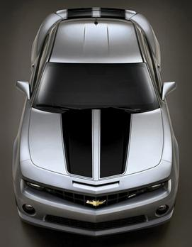 2010+ Camaro GM Performance Decal/Stripe Package - Rally Stripes - Black (For use on Coupes)