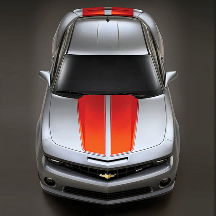 2010+ Camaro GM Performance Decal/Stripe Package - Rally Stripes - Orange (For use on Coupes)