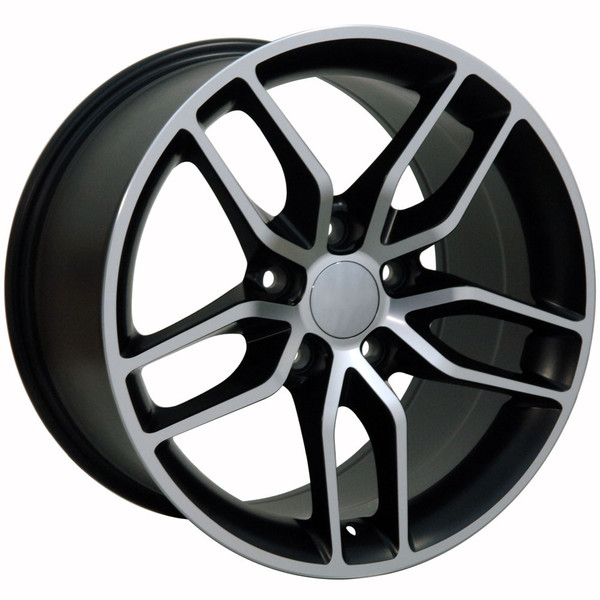 "OE Wheels Corvette C7 Stingray Replica Wheel - Matte Black Machined Face 18x8.5"" (56mm Offset) - Set of 4"