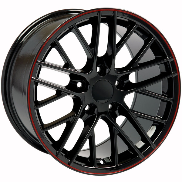 "OE Wheels Corvette C6 ZR1 Replica Wheel - Black w/Red Band 17x9.5"" & 18x10.5"" (54mm/56mm Offset)"