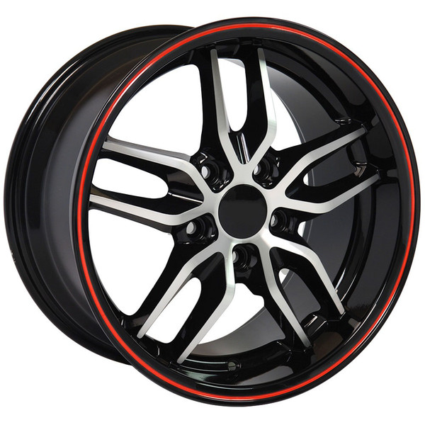 "OE Wheels Corvette C7 Stingray Replica Wheels - Black Machined Face Deep Dish - 17x9.5""- 54mm Offset (Set of 4)"