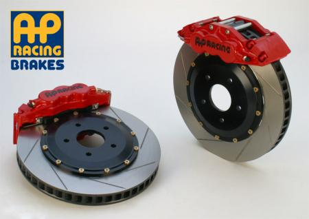 97-04 C5 Corvette AP Racing 6 Piston Front Track Slotted Big Brake Kit - Red Calipers