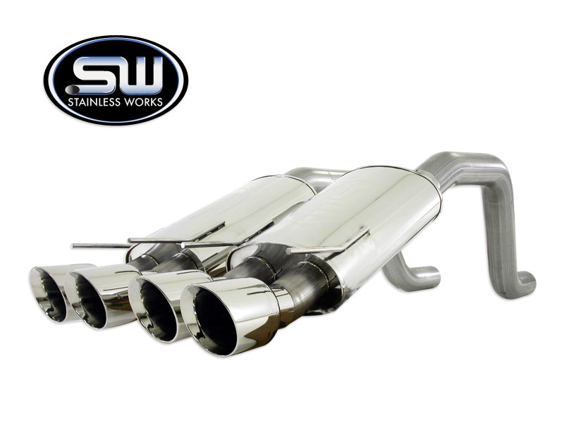 "2009+ Corvette C6 Stainless Works 2 1/2"" Axle-Back S-Tube Exhaust System w/Quad Tips"