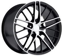 "House of Wheels Machined Black C6 Corvette ZR1 Replica Wheels - 18x8.5"" +56mm Offset"