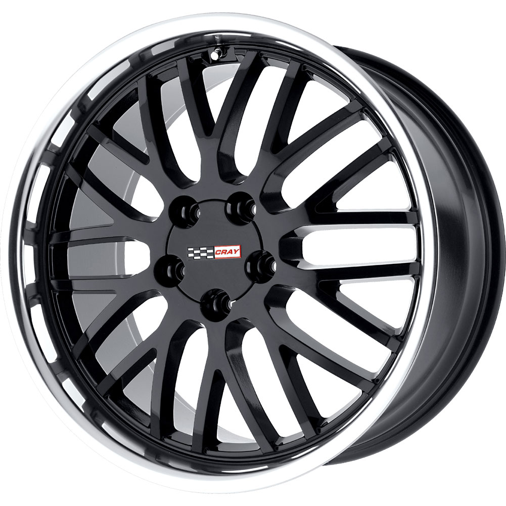 "97-04 C5 Corvette Cray Manta Gloss Black w/Machined Polished Lip Wheel - 17x9"" (50mm Offset)"