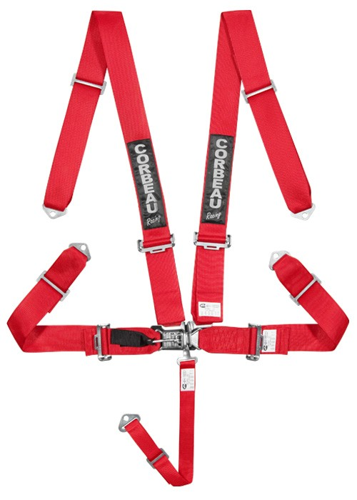 "Corbeau 5-Point Latch & Link 3"" Harness Belts - Red"