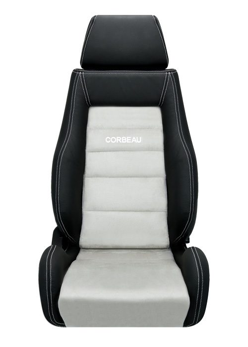 Corbeau GTS II Seats - Black Leather/Grey Microsuede