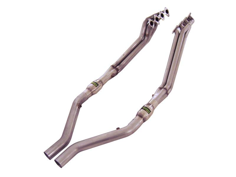 "2005-2010 Ford Mustang GT V8 Stainless Works 1 3/4"" Long Tube Headers w/Lead Pipes"