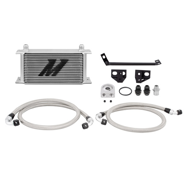 2015+ Ford Mustang 2.3L I4 Mishimoto Performance Oil Cooler Kit - Silver & Non Thermostatic