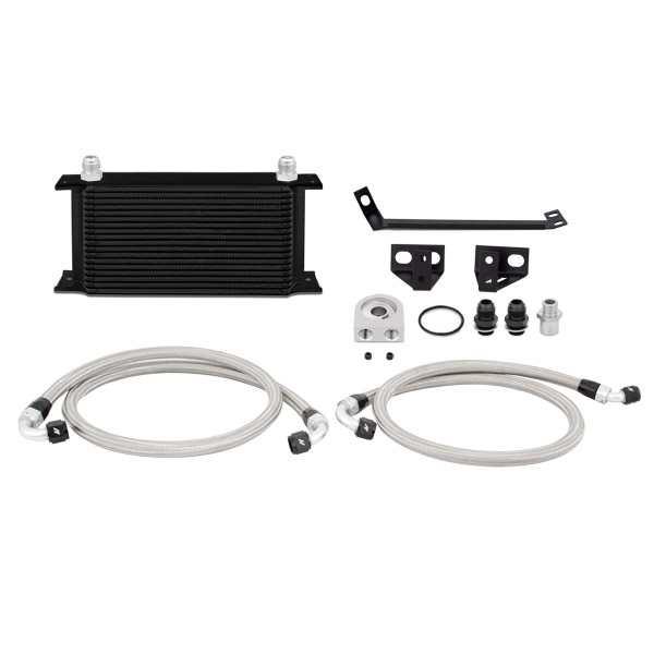 2015+ Ford Mustang 2.3L I4 Mishimoto Performance Oil Cooler Kit - Black & Non Thermostatic