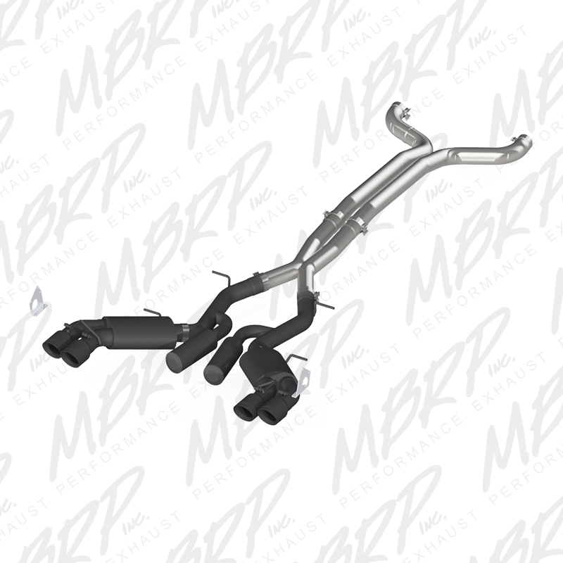 "2016+ Camaro SS MBRP Performance 3"" 409SS Street Version Catback Exhaust System w/Black Coated Quad Tips"