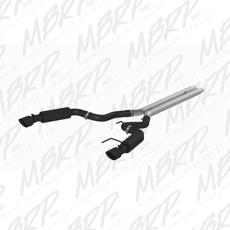 "2015+ Ford Mustang GT Convertible 5.0L MBRP Performance 3"" Stainless Dual Split Race Version Catback Exhaust System - Black"