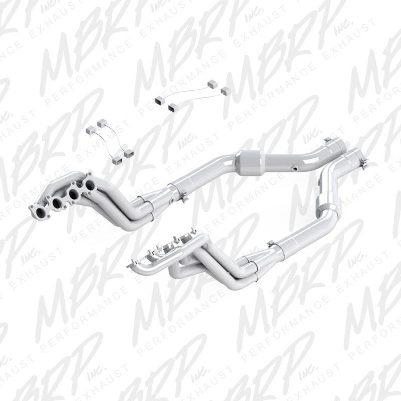 "2015+ Ford Mustang GT 5.0L V8 MBRP Performance 1 7/8"" Long Tube Headers w/Catted Mid Section"
