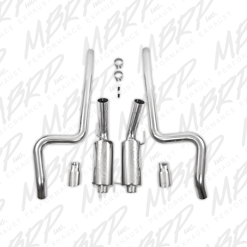 "2007-2010 Ford Mustang GT500 MBRP Performance Streeet Version Aluminized Stainless T304 Dual Catback w/4"" Tips"