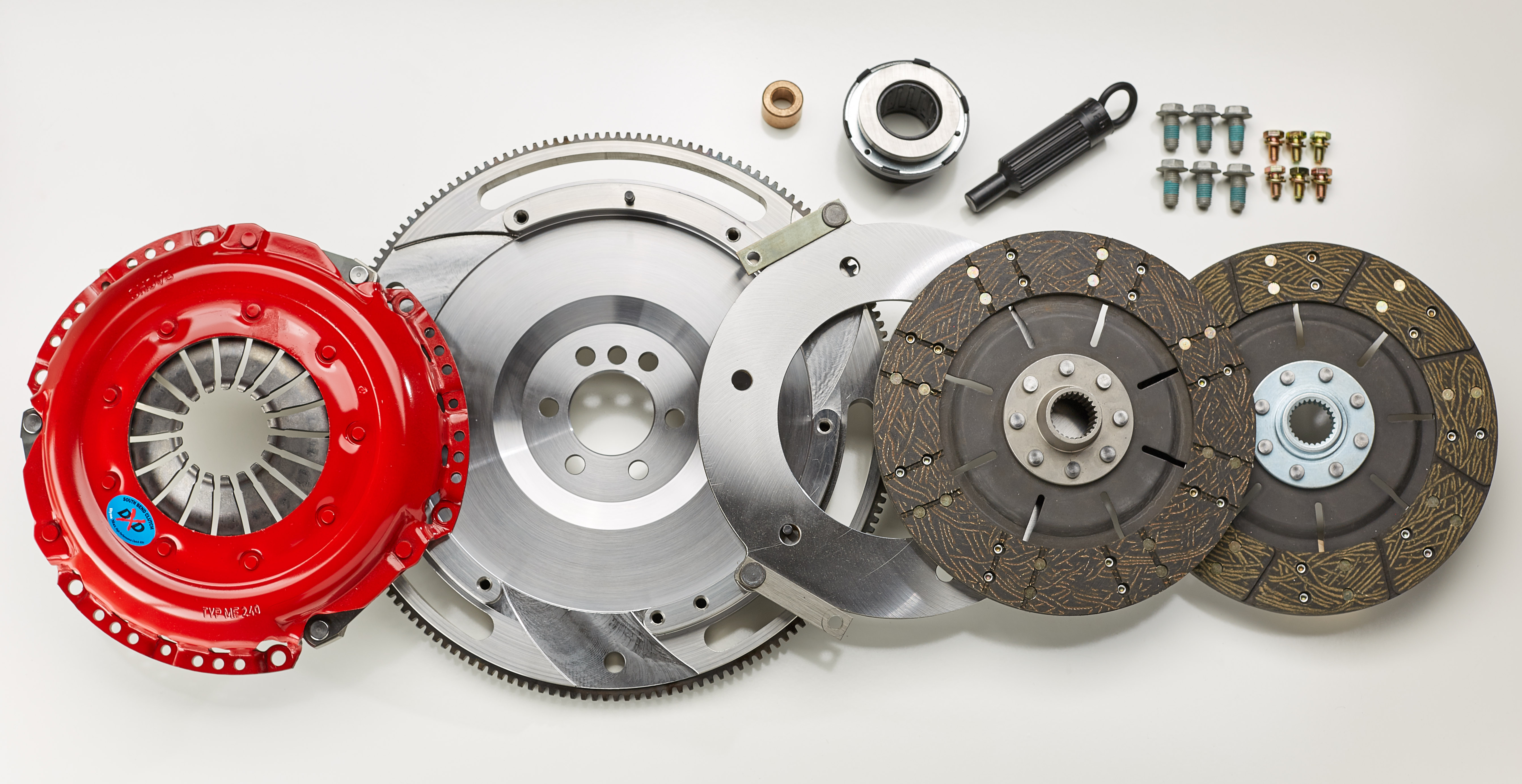 1999-2004 Ford Mustang V8 South Bend Clutch Dual Disc Kit w/ Flywheel (TR3250/TR3650 Trans)