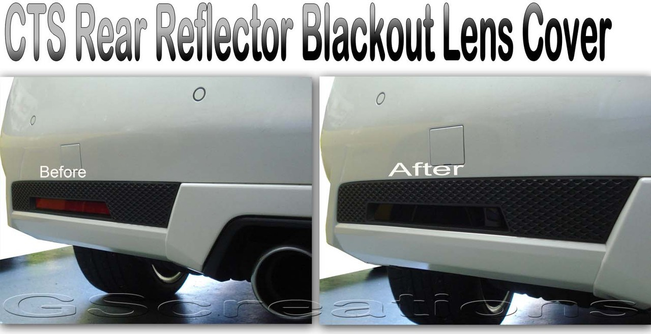 2011-2012 Cadillac CTS/CTS-V Coupe GSCreations Rear Reflector Blackout Lens Cover