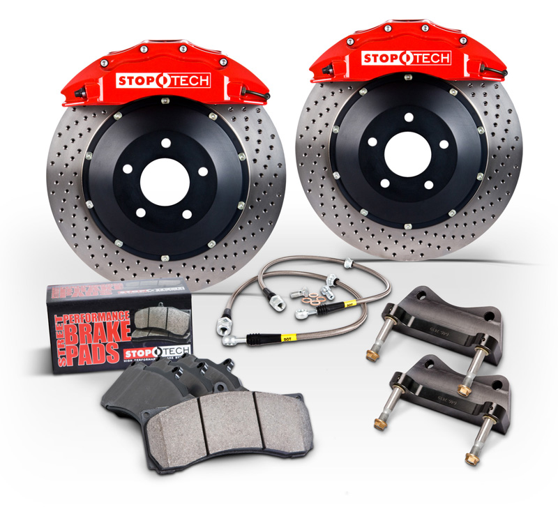 2014+ C7 Corvette Z51 Stoptech Big Brake Kit w/Trophy Anodized ST-60 Calipers & Zinc Coated Drilled Rotors - Front