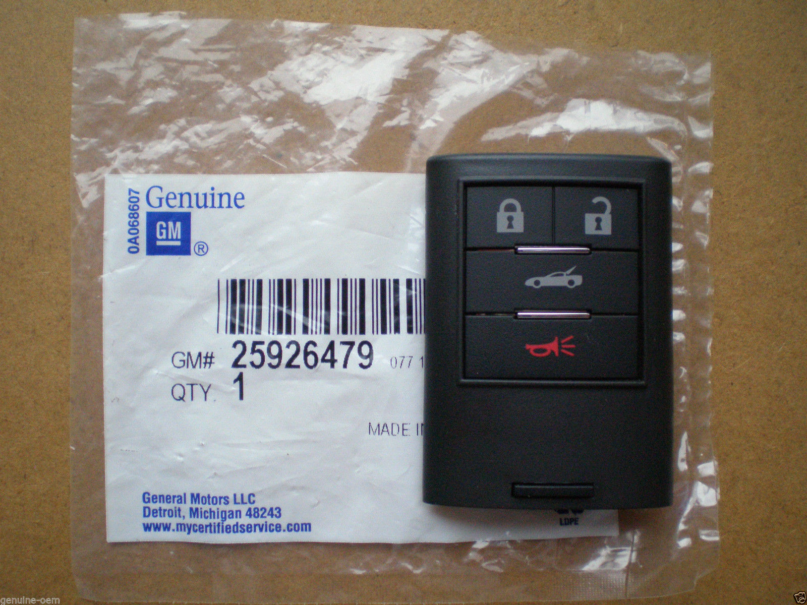 2008 Corvette C6 - Genuine GM Replacement Key Fob